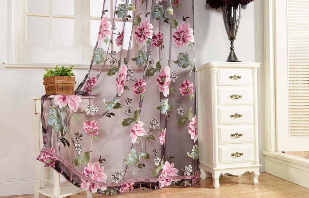 270cm x 100cm Door Modern Room Flower Tull Window Screening Curtain Drape
