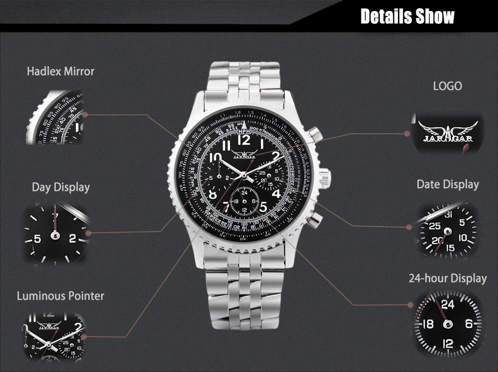 JARAGAR J014 Male Automatic Mechanical Watch Date Day 24 Hour Display Wristwatch