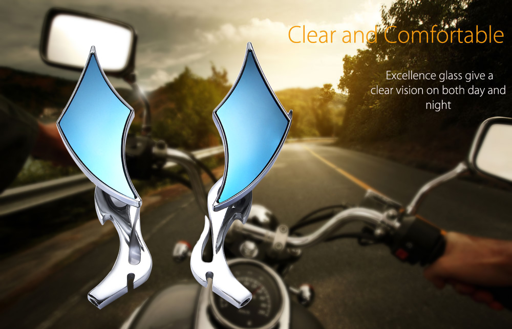 SF - 017 Paired Universal Aluminium Alloy Motorcycle Rearview Mirror Motorbike Twisted Flame