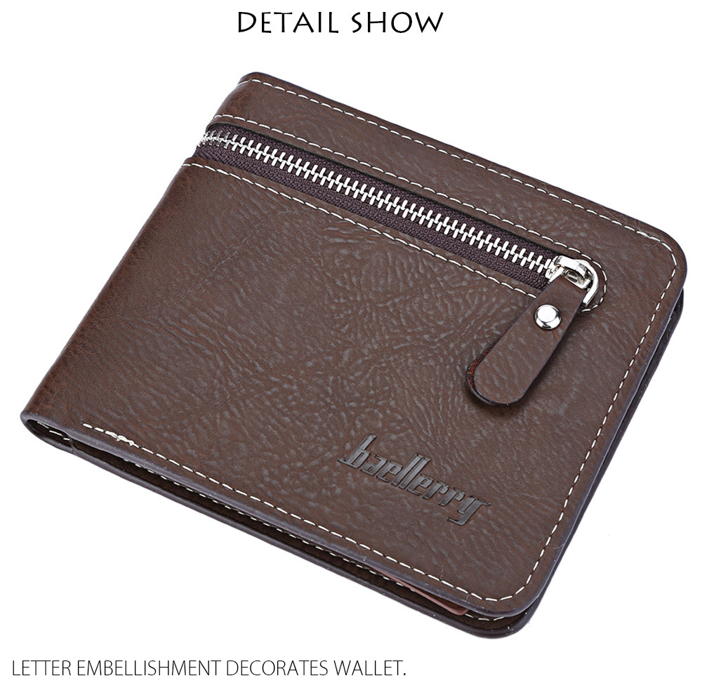 Baellerry Zipper Open Letter Embellishment Men Short Wallet