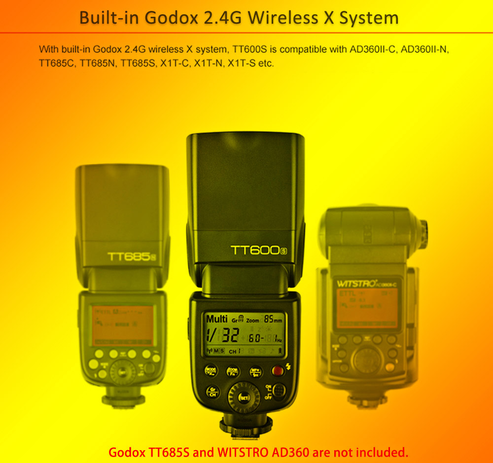 Godox TT600S 2.4G Wireless X System Speedlite Master and Slave Camera Flash Light for Sony