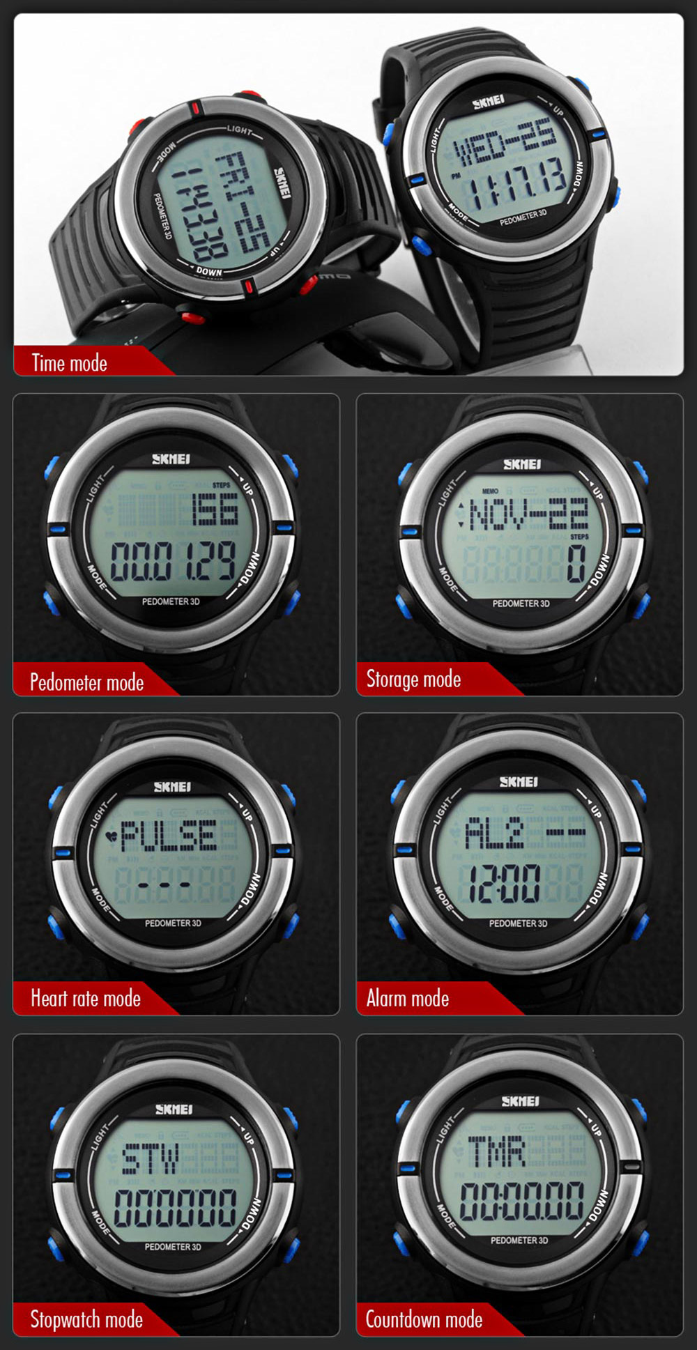 Skmei 1111 Heart Rate Sports Digital Watch with Pedometer Function Water Resistant