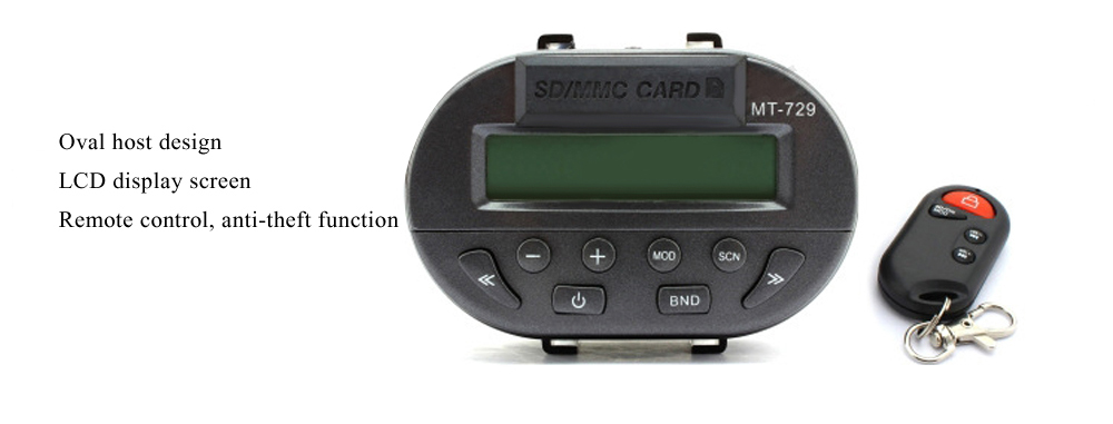 MT729 + 183 Motorcycle Music Player Water-resistant LCD Display Remote Control Stereo System
