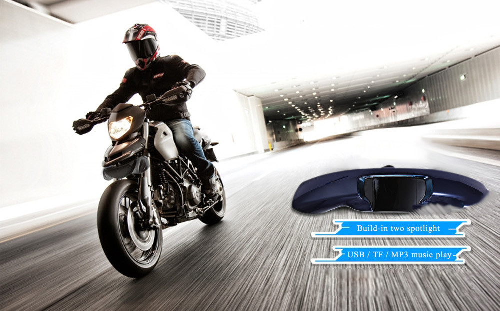 MT610 Motorcycle Headlight MP3 Music Player Remote Control Water-resistant Anti-theft Stereo System