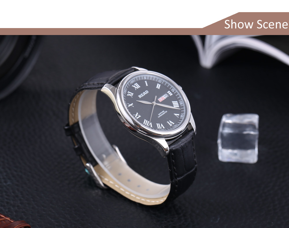 READ R6003G Male Quartz Watch Sapphire Mirror Date Day 3ATM Wristwatch