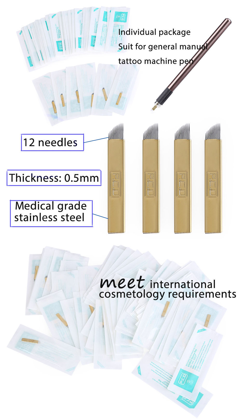 50pcs PCD 12 Pin Permanent Makeup Eyebrow Tattoo Blade Microblading Needles for 3D Embroidery Manual Pen