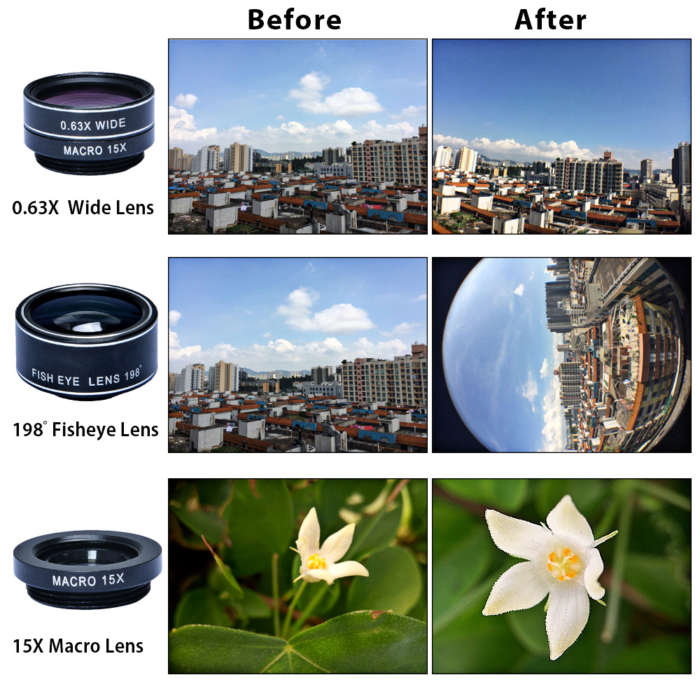 APEXEL APL - DG5 5 in 1 Camera Kit 198 Degree Fisheye 0.65X Wide Angle 15X Macro 2X Telephoto Lens Polarizer for iPhone Samsung Xiaomi ZTE Notebook PC