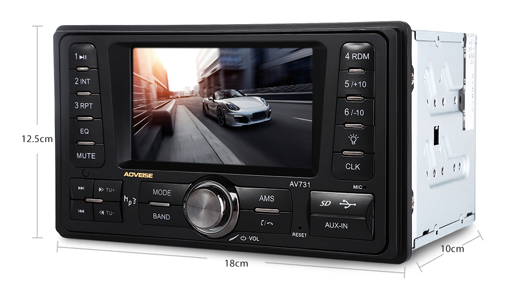 AV731 4.3 Inch Car Audio Stereo 12V Auto Video AUX FM USB SD MP3 Player