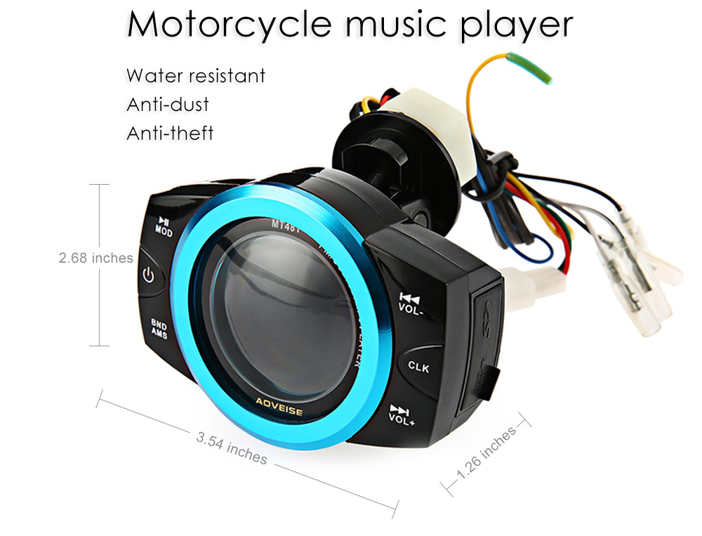 AOVEISE MT481 Professional Motorcycle Music Audio Radio Sound Player Alarm