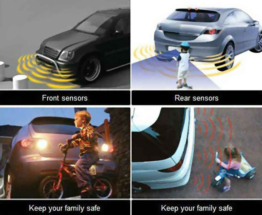 CRS6100 Car Vehicle Radar Parking System Buzzing Alert LED Display Distance Detection with 4 Sensors