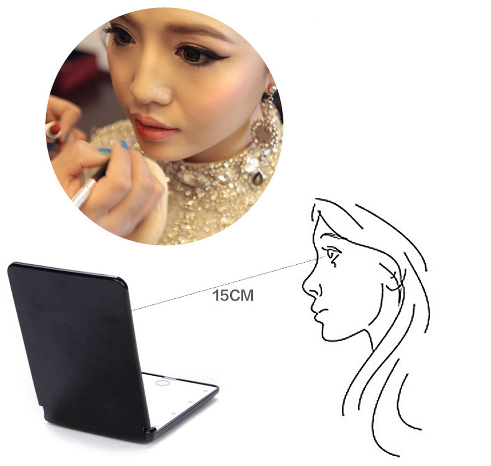 Fashion 8 LEDs Portable Touch Screen Lighted Makeup Mirror