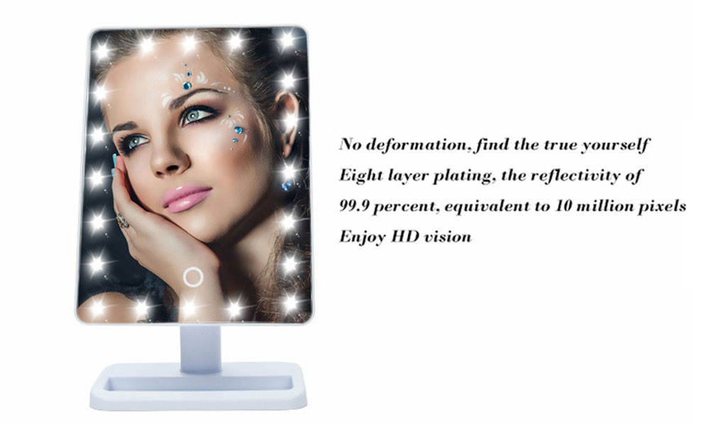 Fashion Portable Folding Table 20 LEDs 180 Rotating Mirror