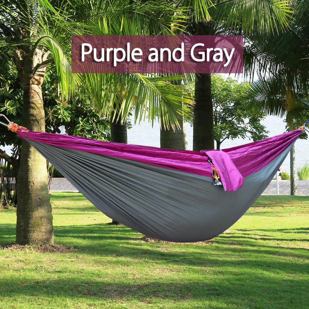 Outdoor One Person Assorted Color Parachute Nylon Fabric Hammock
