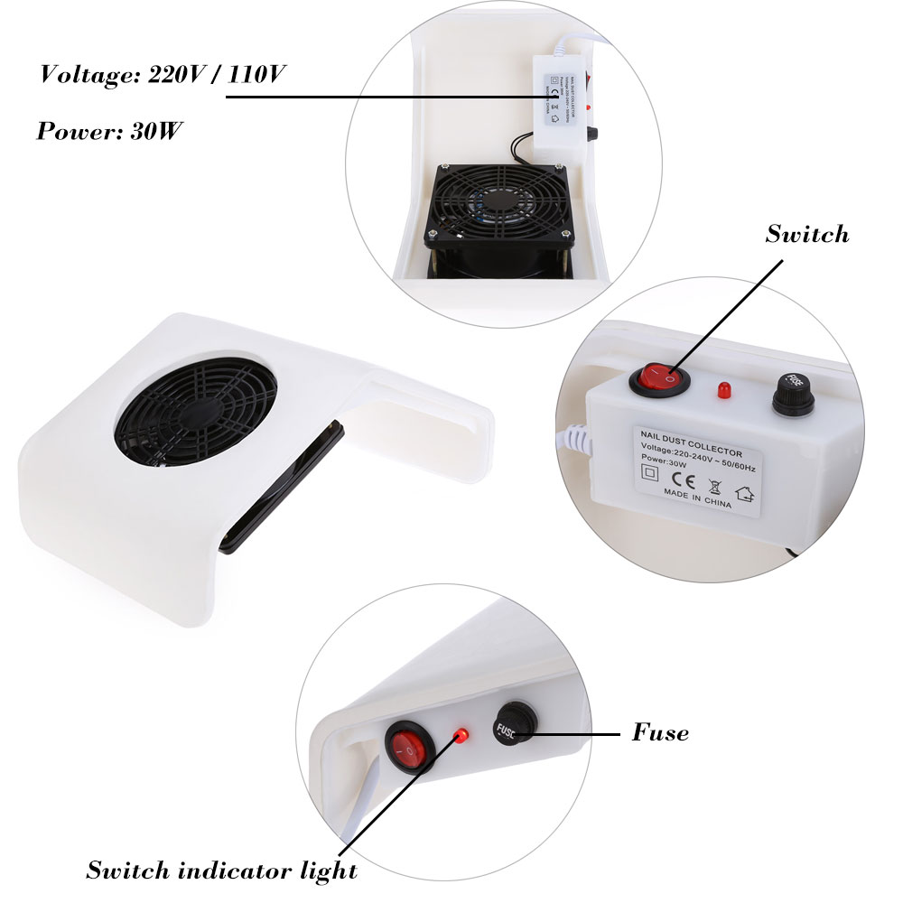 Professional 30W 220V / 110V Suction Nail Dust Collector Machine