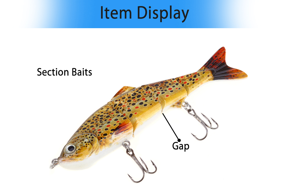 HS007 Minnow Fishing Bait Four Sections Slowly-sinking Lure with Hooks
