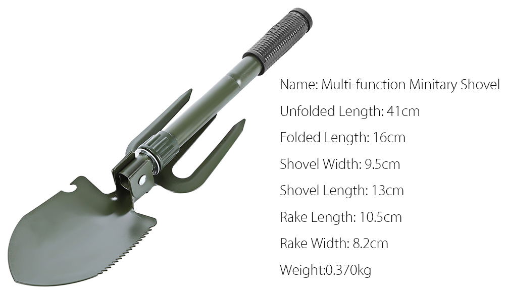 CLEYE Multi-function Military Portable Trowel Diddle Rake Shovel with Carrying Pouch