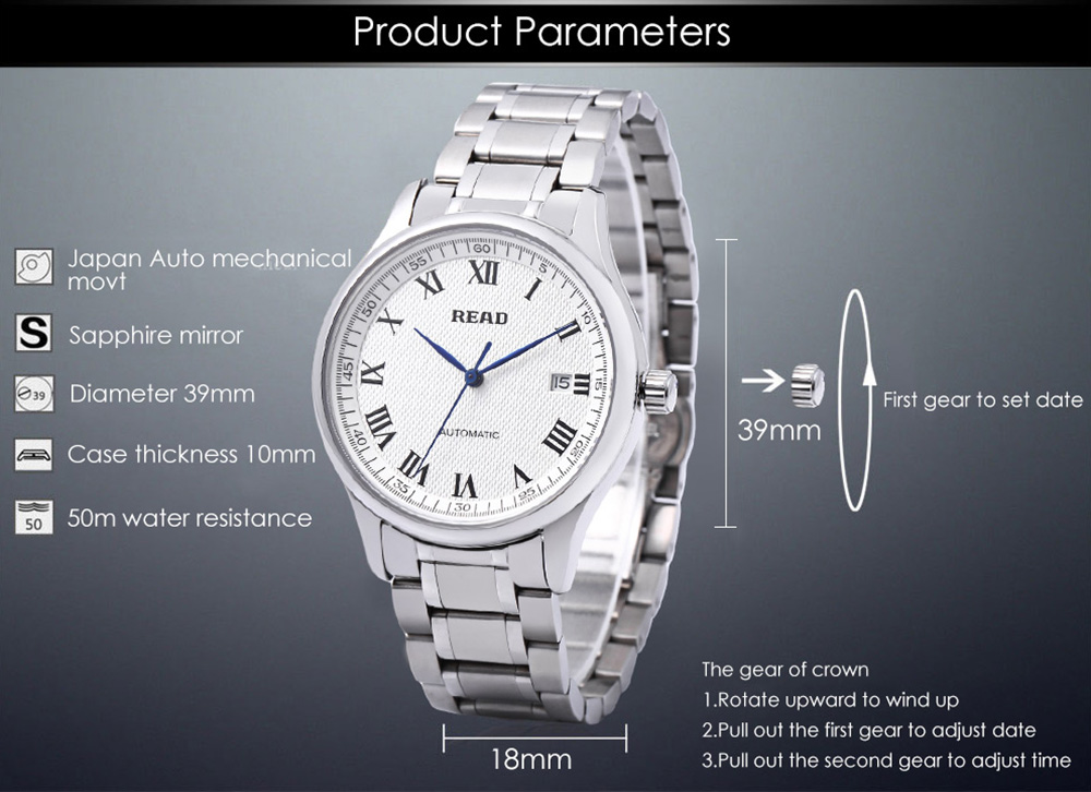 READ R8003G Men Auto Mechanical Watch Date Display Sapphire Mirror 5ATM Stainless Steel Band Wristwatch