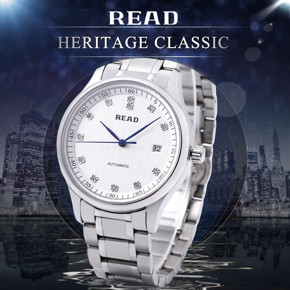 READ R8003G Men Auto Mechanical Watch Artificial Rhinestone Dial Sapphire Mirror Date Display 5ATM Wristwatch