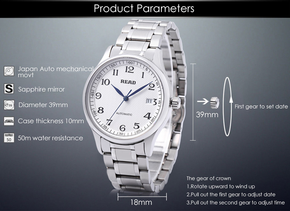 READ R8003G Men Auto Mechanical Watch Sapphire Mirror Date Display 5ATM Stainless Steel Band Wristwatch