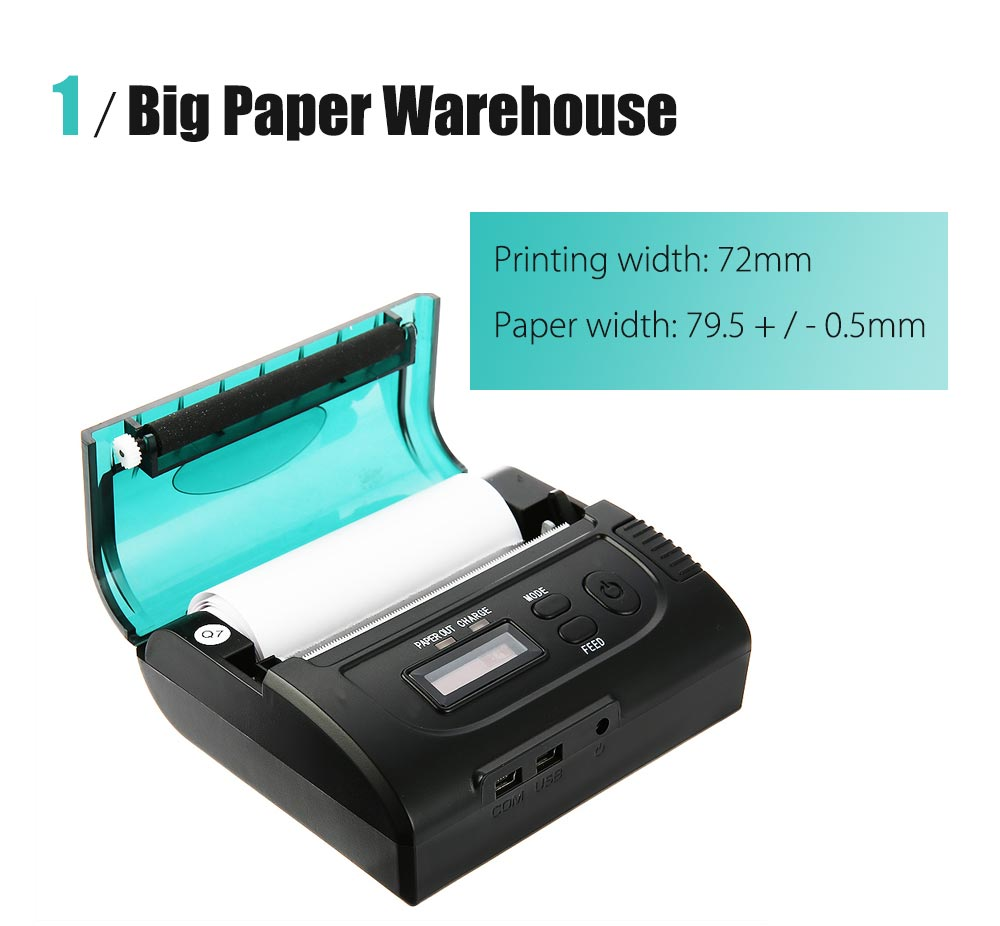 ZJ - 8002 Portable 80mm Bluetooth 2.0 Mini Thermal POS Printer