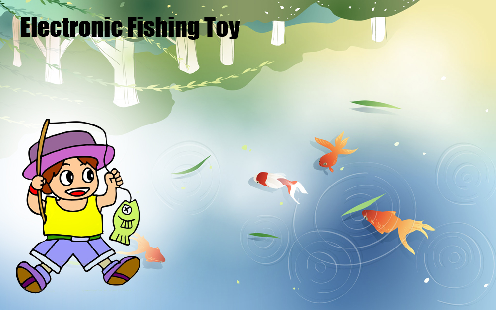 Children Colorful Plastic Electronic Fishing Musical Rotating Toy with 45 Fish 4 Fishing Rods