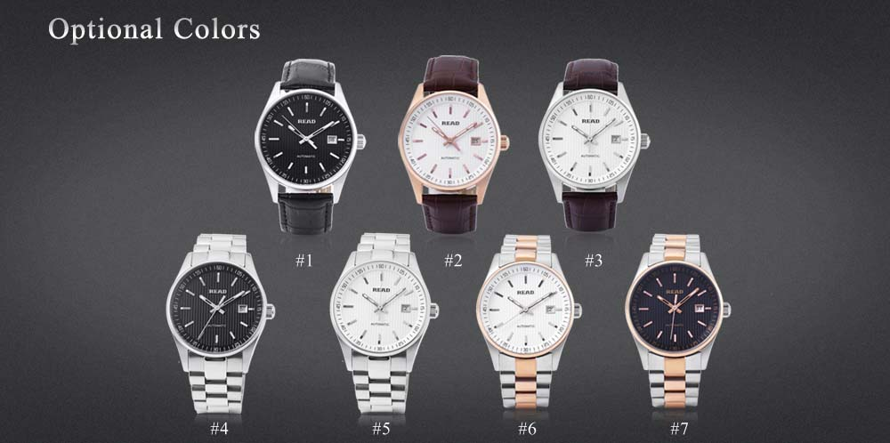 READ R8009G Men Auto Mechanical Watch Sapphire Mirror 5ATM Luminous Date Display Wristwatch