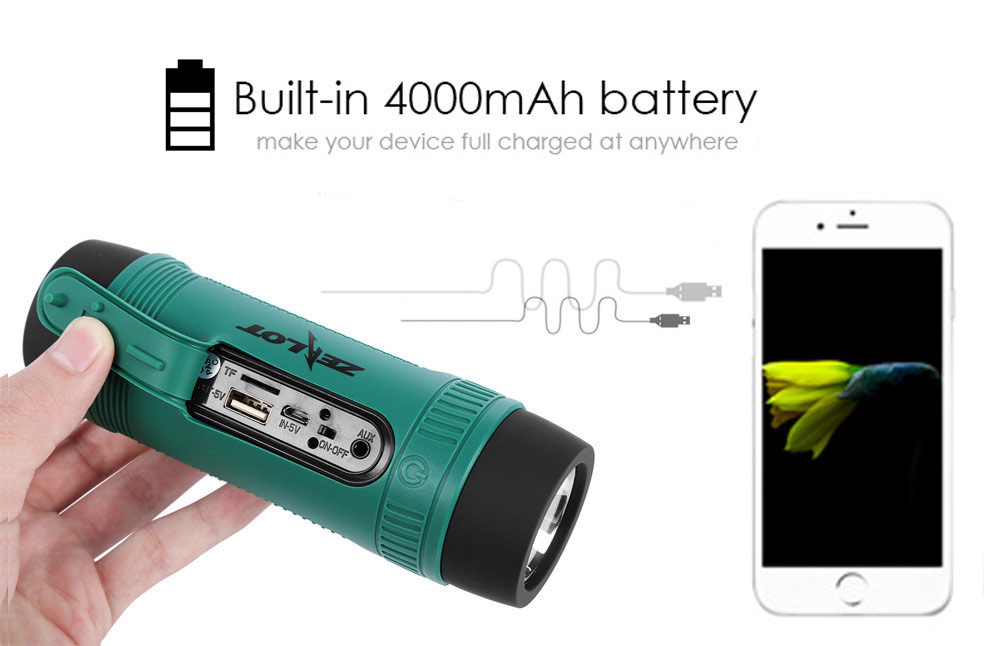 Zealot S1 Portable Rechargeable Bluetooth Power Bank Speaker with LED Light for Outdoor Sport Bicycle Mounting Bracket