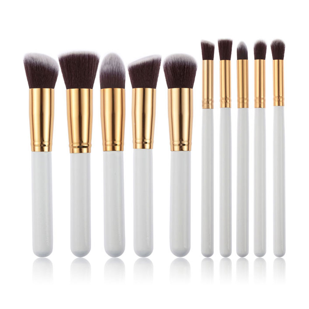 10pcs Makeup Brushes Cosmetic Grade Rose Gold PU Tubular Bag