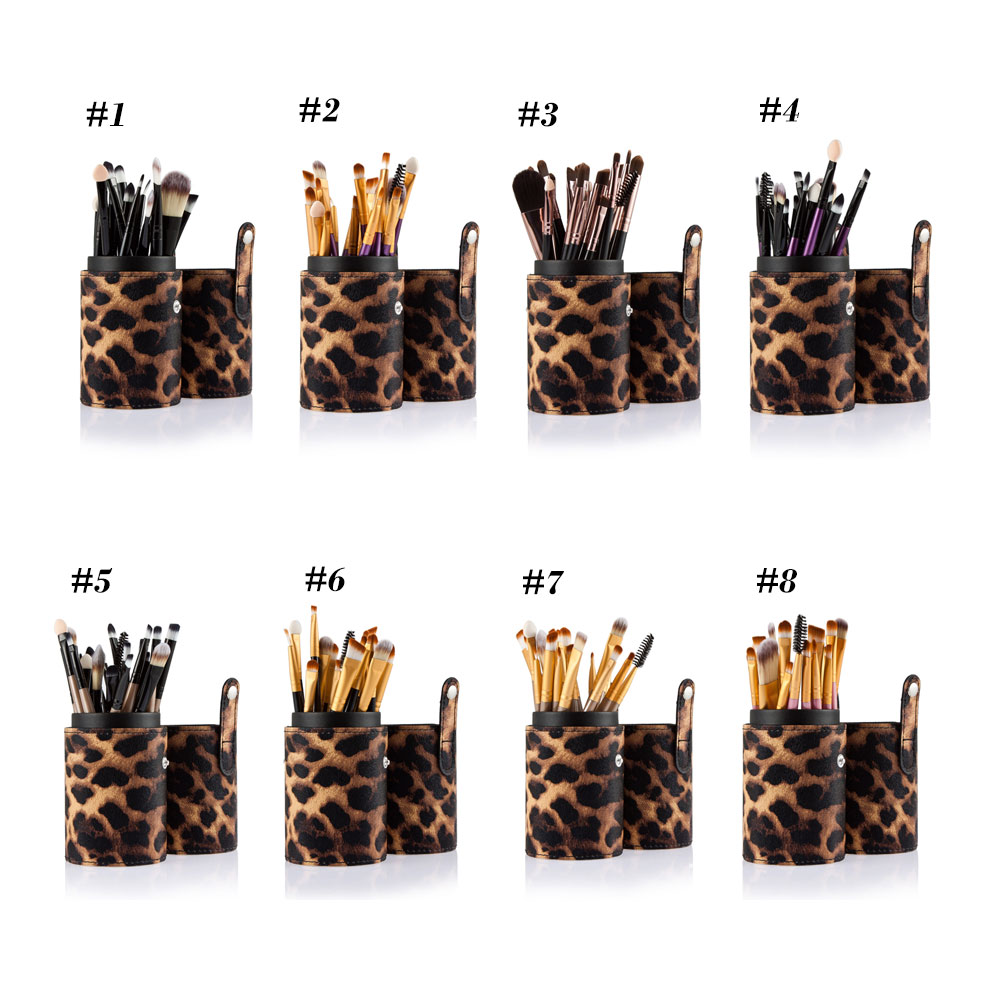 20pcs Professional Cosmetic Makeup Tool Powder Foundation Brush with Leopard Case
