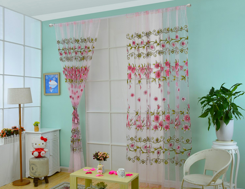 100 x 200cm Floral Printed Tulle Voile Wall Room Divider Window Curtain
