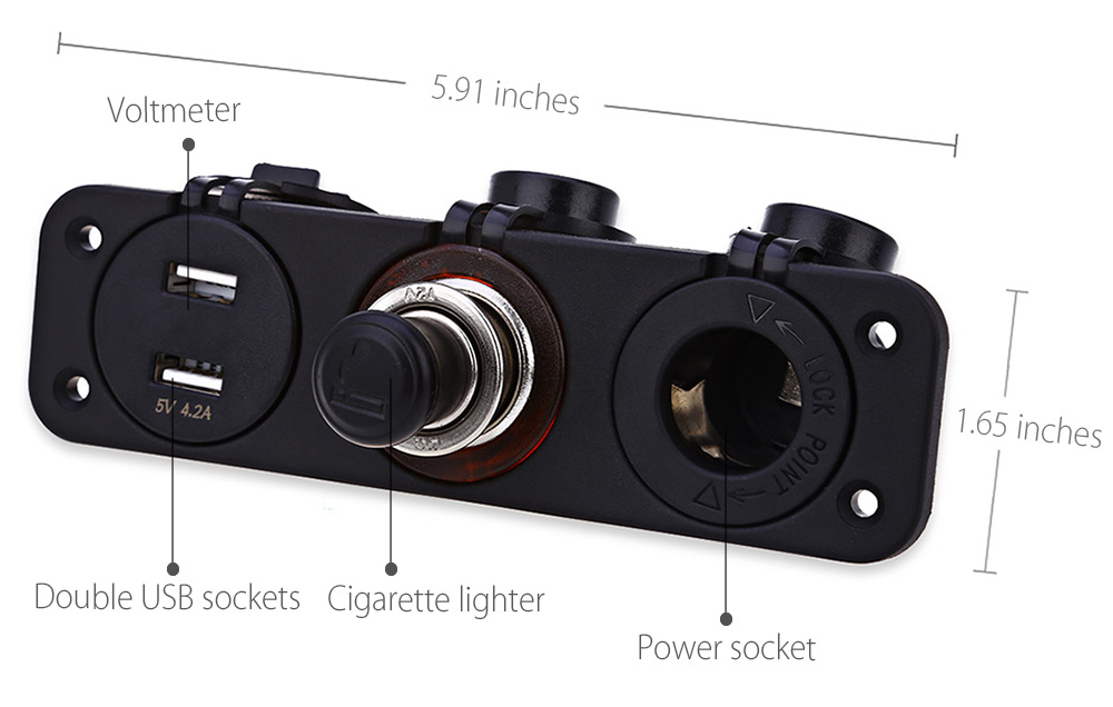 C912 - Z Double USB Socket Cigarette Lighter Three-hole Faceplate with Red Indicator