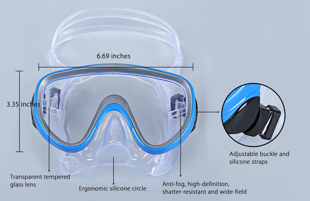 CONQUEST Diving Goggles Mask Snorkel Anti-fog Glasses Submersible Set