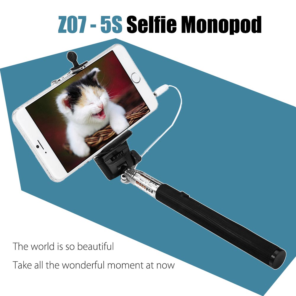 Z07 - 5S Mobile Phone Monopod Selfie Stick Self Portrait Pole with Remote Shutter Button 3.5mm Cable