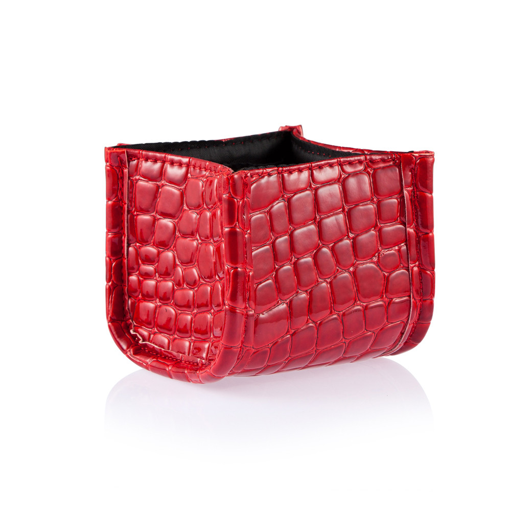 Cosmetic Grade Red Alligator Pattern Storage Box + 10pcs Makeup Brushes