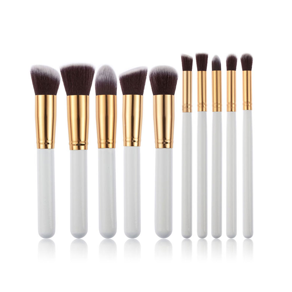 10Pcs Professional Cosmetic Makeup Tool Powder Foundation Brush with Grade Golden Alligator Pattern PU Box