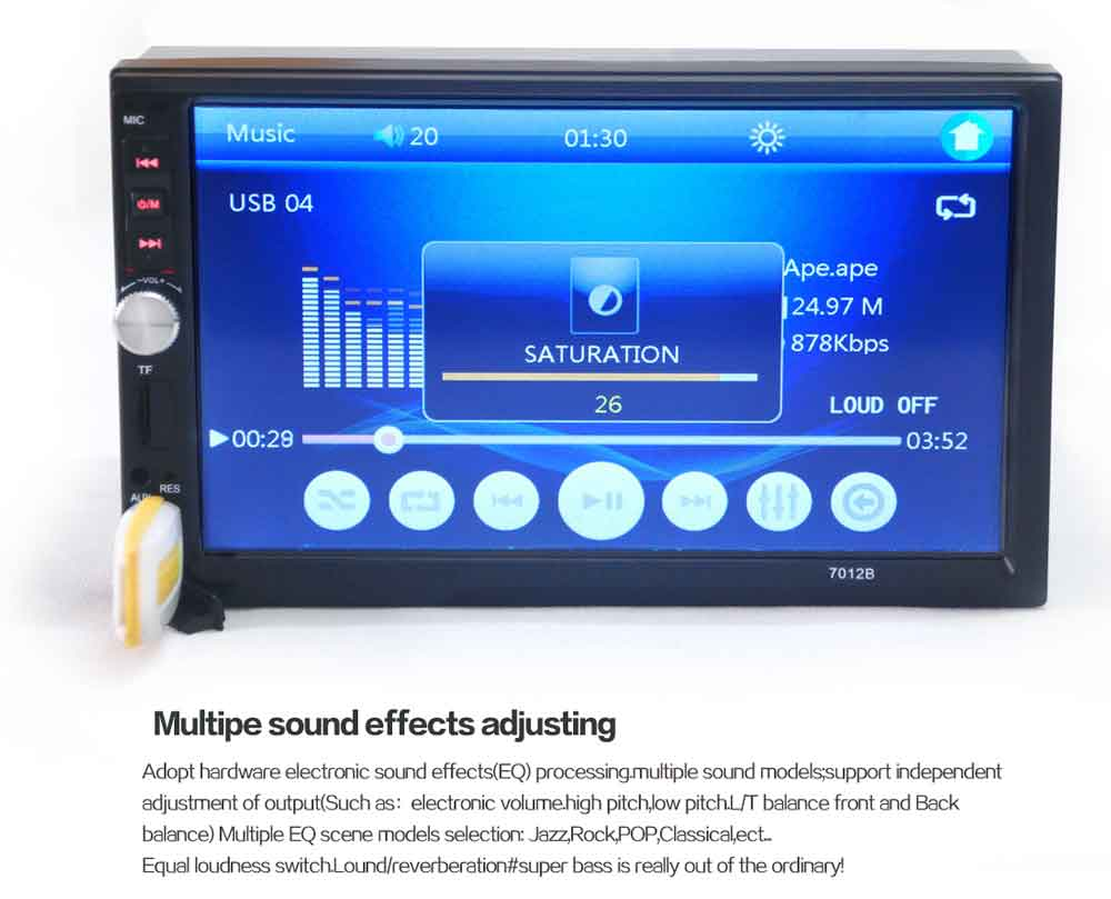 7012B 7 Inch Bluetooth V2.0 12V Car Audio Stereo MP5 Player Auto Video with Rearview Camera