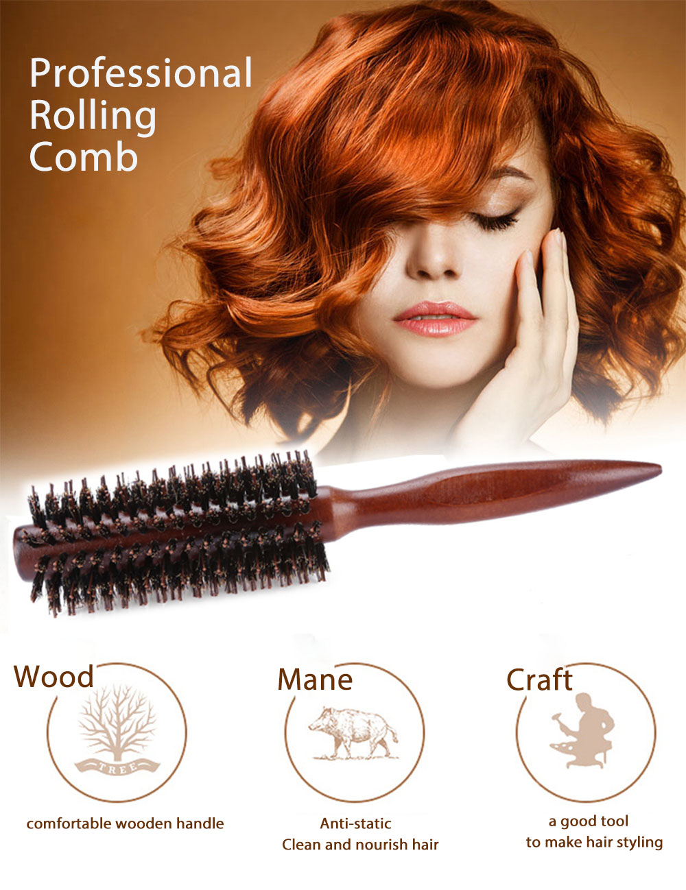 Curly Hair Comb Round Brush Wooden Handle Bristle Anti-static Hairdressing