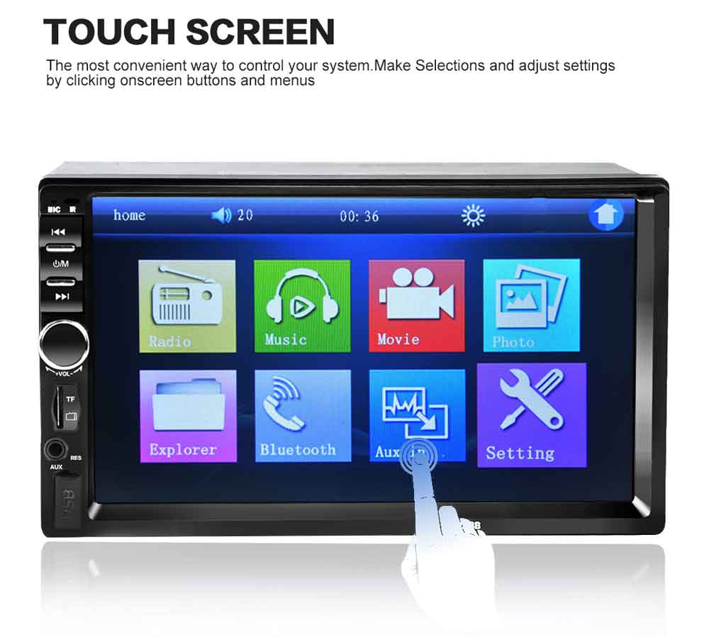 7018B 7 Inch Bluetooth V2.0 Car Audio Stereo MP5 Player 12V Auto Video Support AUX FM USB Remote Control