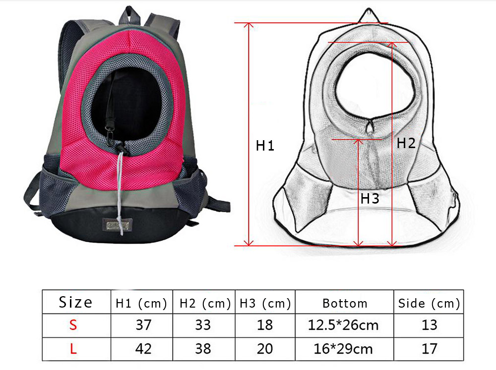 Nylon Pet Dog Travel Carrier Bag Front Head Out Puppy Double Shoulder Pack