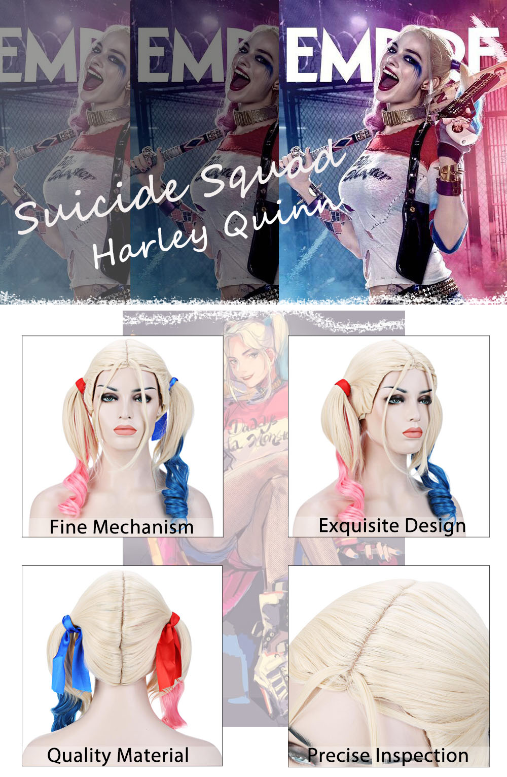 Cosplay Synthetic Hair Curly Pink Blue Wigs Costume