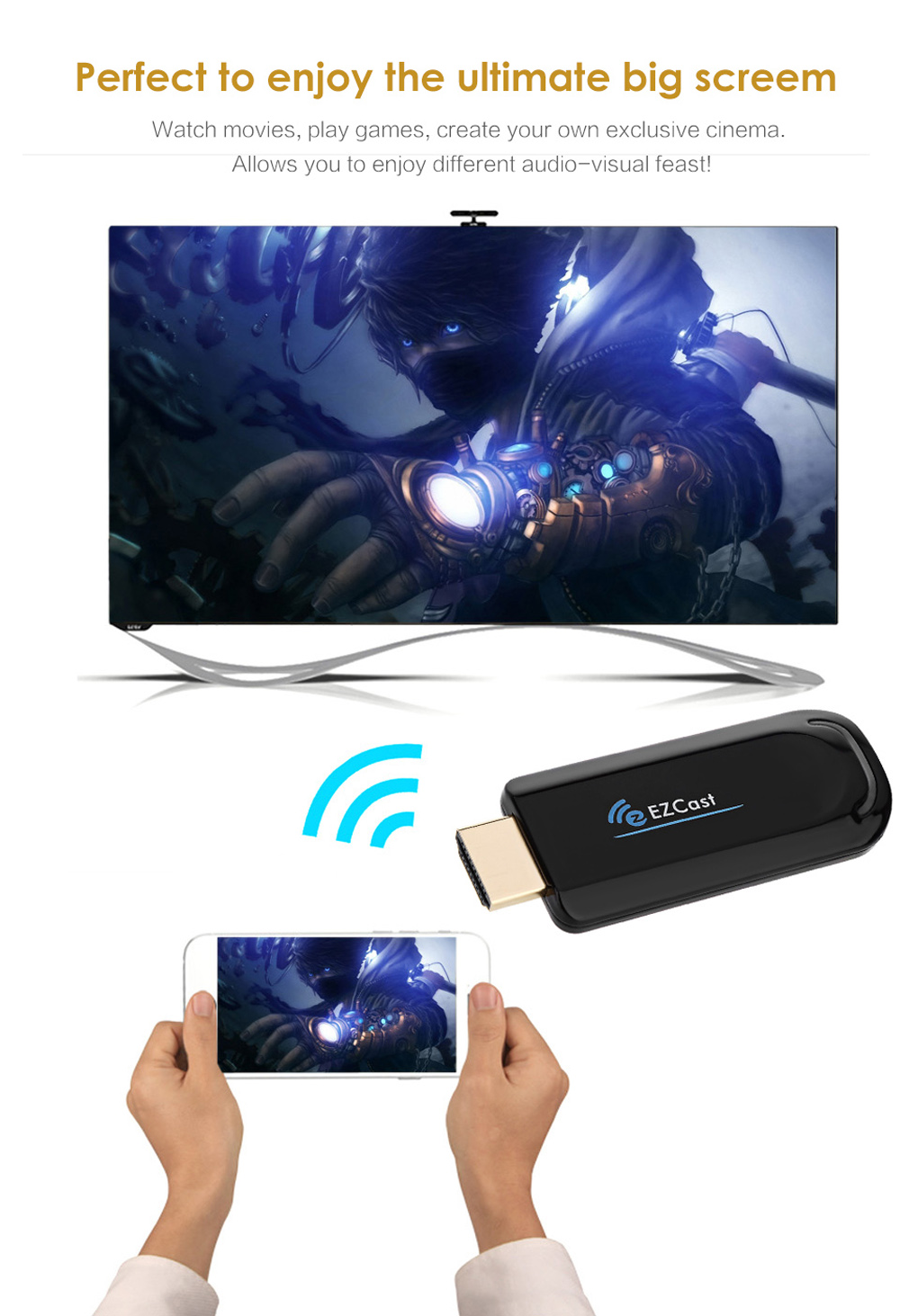 EZCast TV Dongle Wireless Dual Band 5GHz 2.4GHz WiFi HDMI DLNA Miracast Display Airplay Receiver