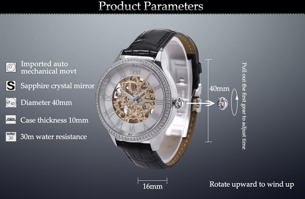 Princess Butterfly HL587MB Male Auto Mechanical Watch Sapphire Crystal Mirror Zircon Dial Wristwatch