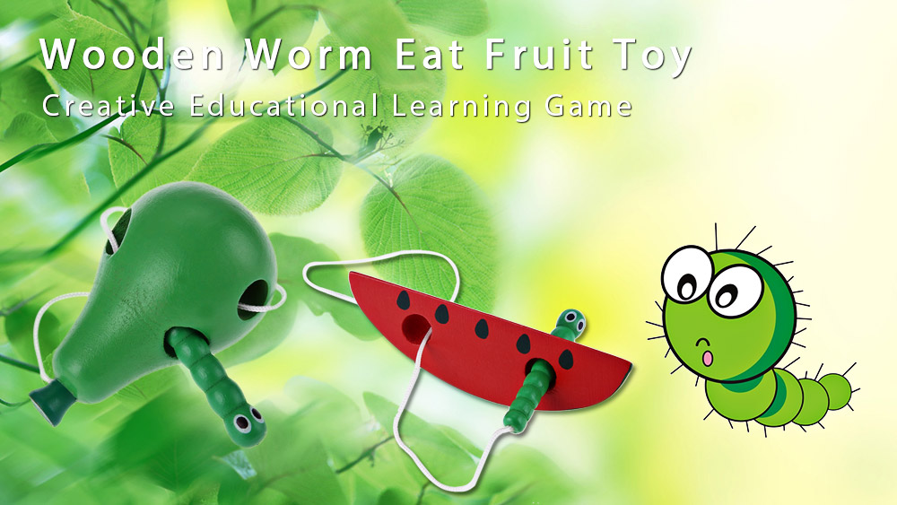 Children Wooden Worm Eat Fruit Toy Creative Educational Learning Game