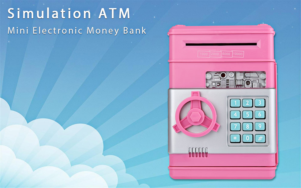 Mini Electronic Money Bank Coin Cash Saving Box Simulation ATM Toy