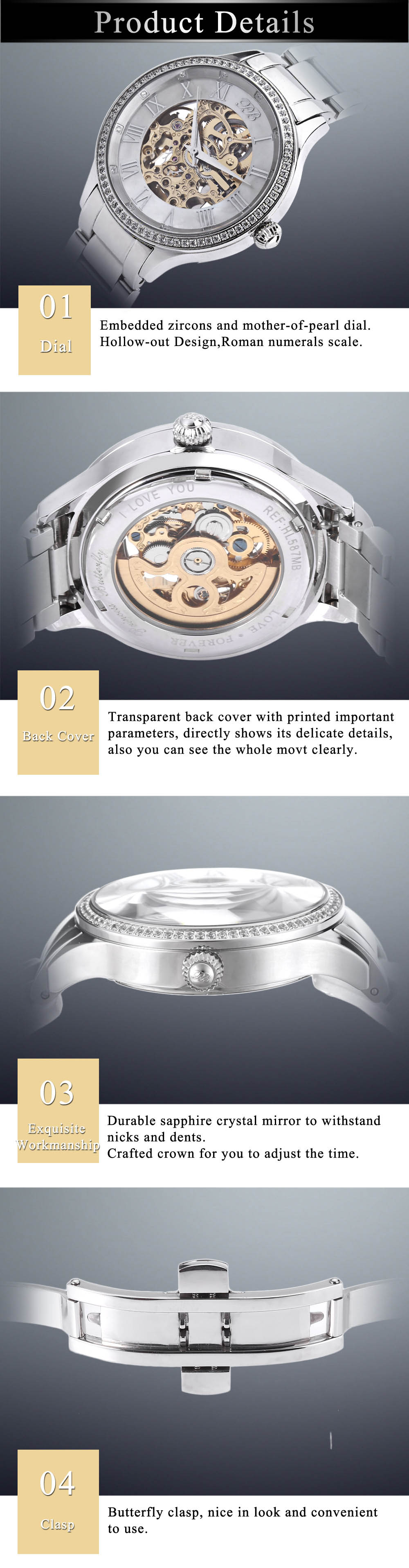 Princess Butterfly HL587MB Male Auto Mechanical Watch Zircon Dial Sapphire Crystal Mirror Wristwatch