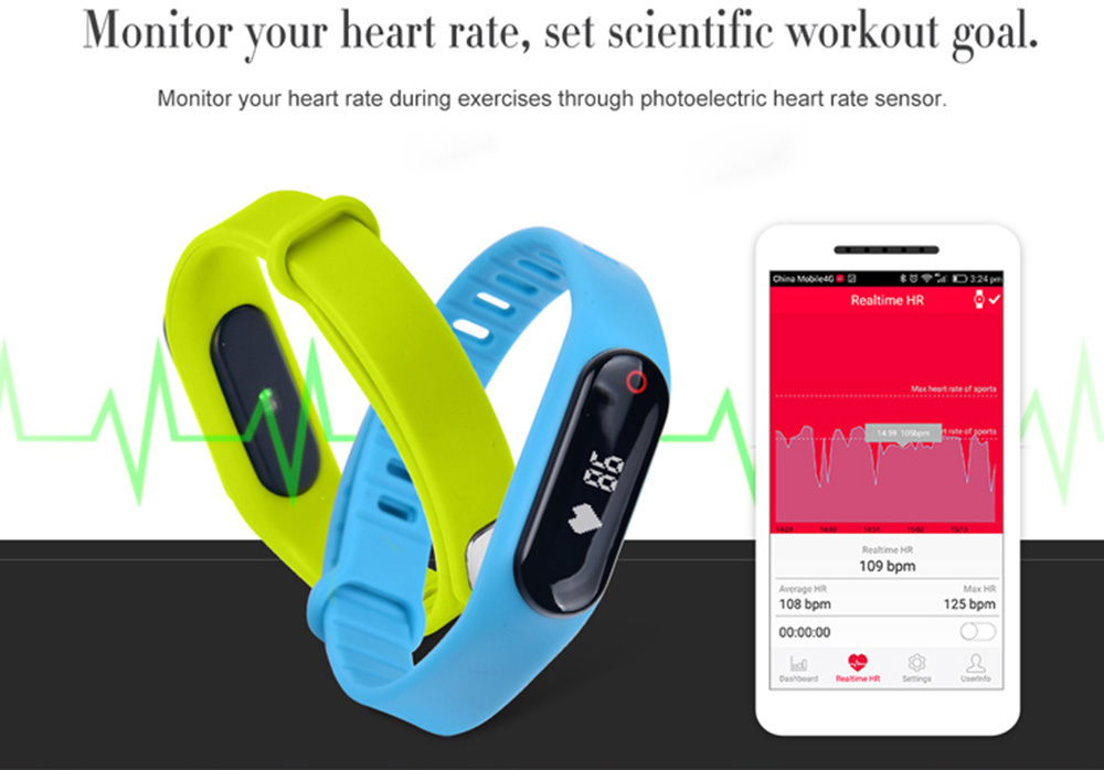 Little Black Heart Rate Smart Bracelet Bluetooth 4.0 Calorie Sport Wristband for Android iOS