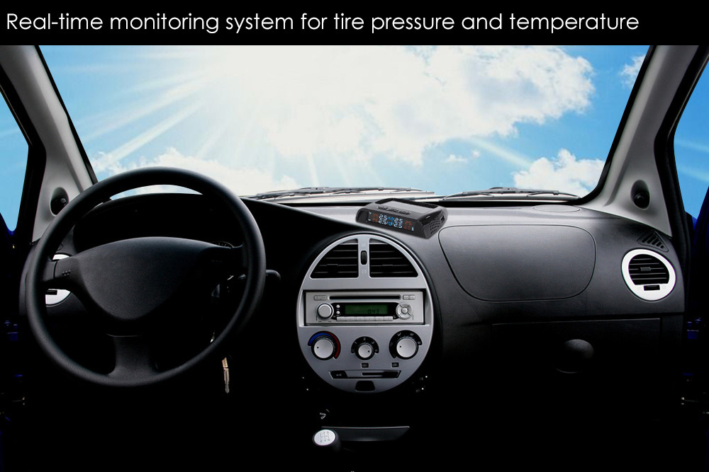 Car Wireless Tire Pressure Solar Energy Monitoring System LCD Display with Four Internal Sensor