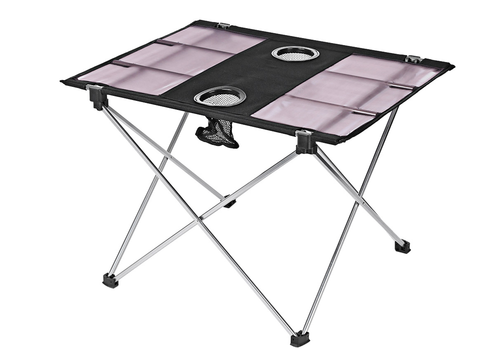 Outdoor Portable Foldable Table with Bottle Hole for Fishing Picnic Camping