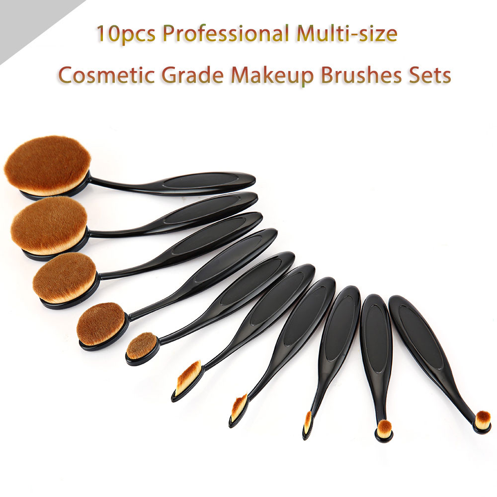 10pcs Professional Multi-size Cosmetic Black Makeup Brushes with Pink Washing Tool