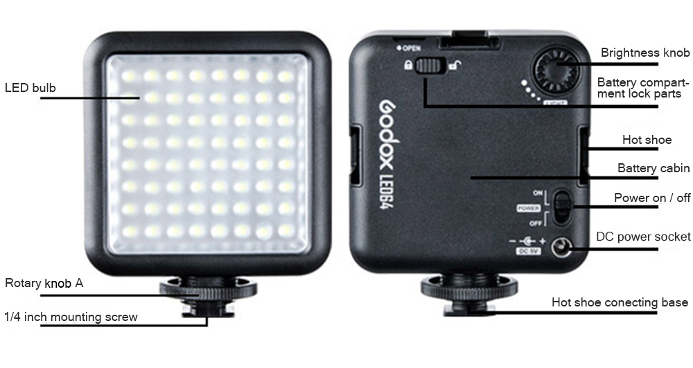 Godox LED64 Ultra Bright Portable 1000Lux Photography Fill Light